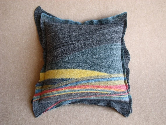 Pillow Cushion Cover - Diagonal Stripes - Decorative Felted - 18x18 - Midnight green Yellow Black Red