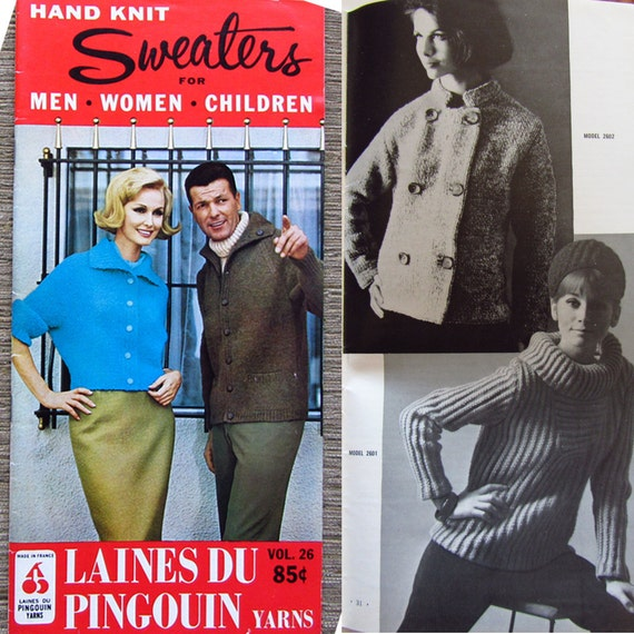 Vintage Knitting Booklet Laines Du Pingouin Yarns 1960s Sweaters Men Women Children Vol. 26