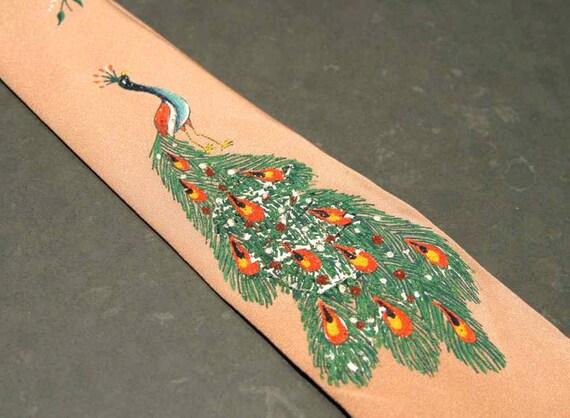 Vintage 50s 60s Skinny Painted Peacock Necktie