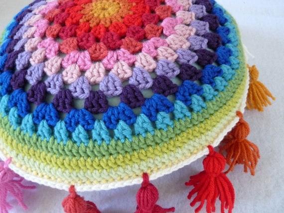 14-inch rainbow crochet pillow with tassels