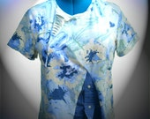 Upcycled Clothing, Summer fashion Shirt,Fun and Funky,  upcycled, reconstructed,Beachy Colors, blue, yellow, green, size medium.