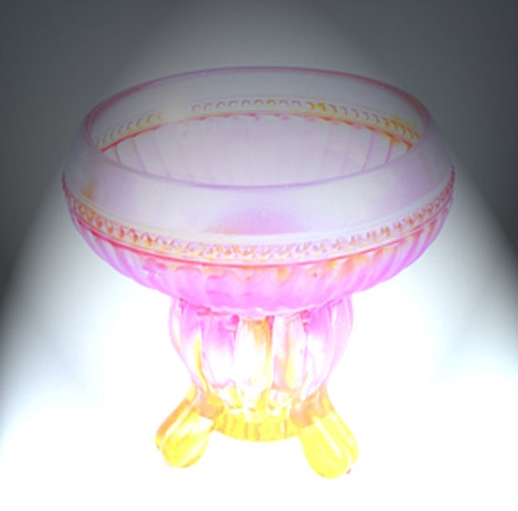 Glass Pedestal Bowl, Jewelry Holder, Candy Dish, Trinket Dish,  Soap Pedestal Dish, hand painted
