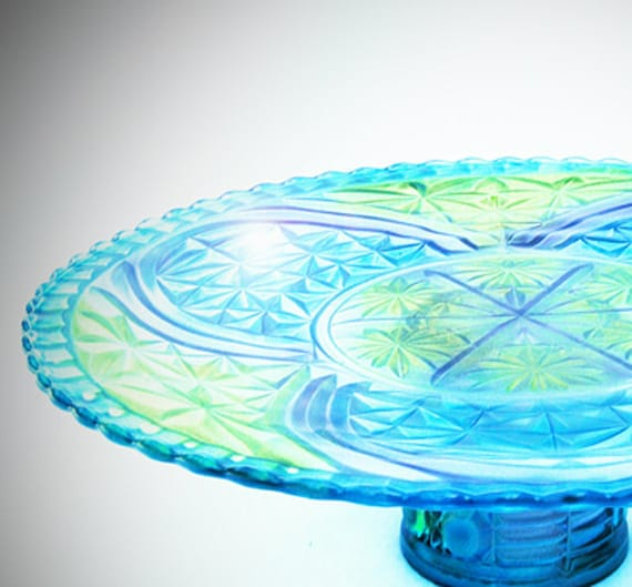 Cake Pedestal , Glass Cake Plate, Glass Cake Pedestal , Cake Stand, Candy Dish, Trinket Dish,   Pedestal Dish, hand painted