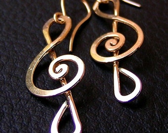 14k gold filled Treble clef earrings, long dangle gold earrings, music earrings, sol clef earrings, gift for musician, musical note jewelry