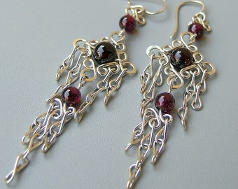 Sterling silver garnet long earrings, silver filigree chandelier earrings, handcrafted silver dangle chandelier-long dangle silver earrings,