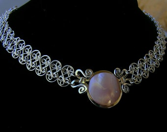 Sterling silver nacre mesh necklace, silver mesh mother of pearl necklace, handcrafted silver filigree neclace, silver mesh choker