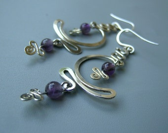 Sterling silver and Amethyst MOON WAVE dangly long earrings
