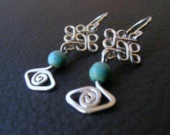 Sterling silver turquiose earring, small drop earrings, handcrafted silver filigree  earrings, dainty silver earring, short dangle earrings