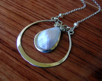 Sterling silver and mother of pearl MOON-DROP pendant