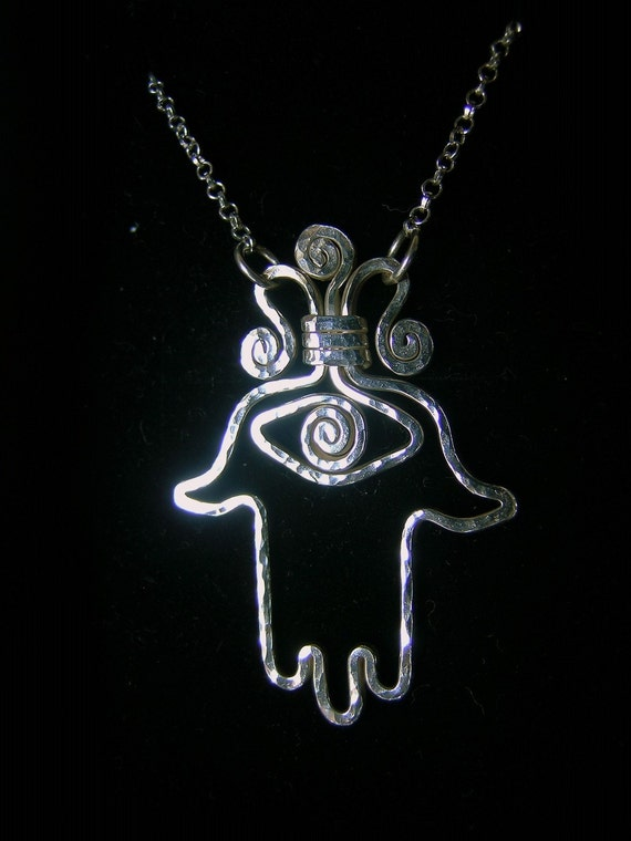 Sterling silver HAMSA pendant, silver hamsa necklace, evil eye protection necklace, hand of fatima necklace-hand of miriam, talisman, amulet
