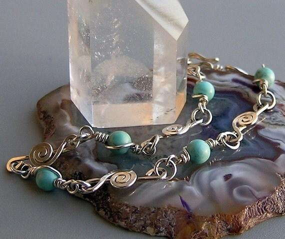 Sterling silver treble clef bracelet,handcrafted silver Turquoise silver clef bracelet, g clef bracelet, music note bracelet, music lover