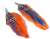 Orange Blue Feather Wire Wrapped Earrings