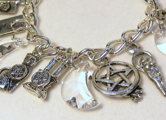 pagan wiccan symbols charm bracelet moon by shadowsandspirits