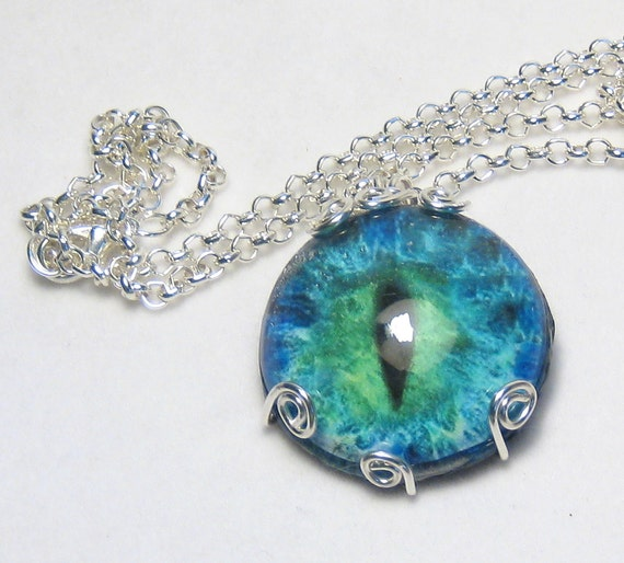 Blue Green Dragon Eye Silver Chain Necklace