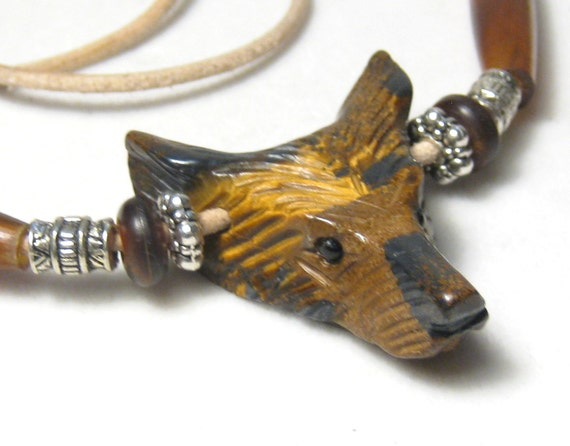 RESERVED - Tiger Eye Wolf Pendant Hairpipe Bead Leather Necklace