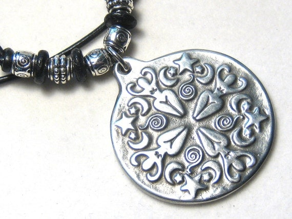 Celestial Goddess Pendant Leather Necklace