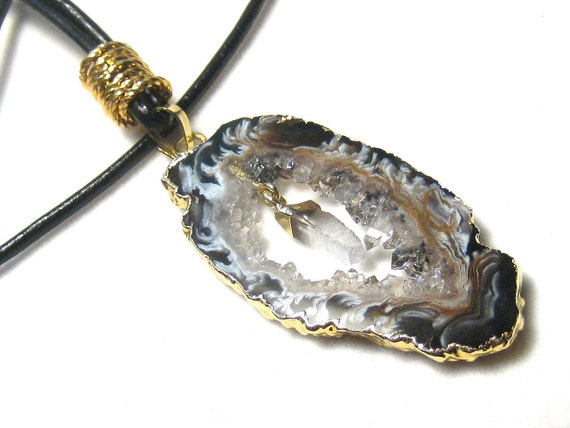 Black Agate Crystal Geode Pendant Leather Necklace
