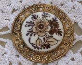 Reduced for quick sale--Vintage Round Metal Brown Floral Cabochon Brooch
