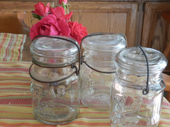Three Vintage Mason Jars with Glass Lids and Wire Bail