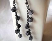 Hematite Cube Beads and Gunmetal Chain Dangle Earrings