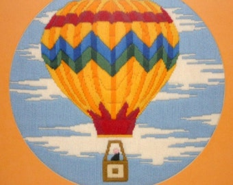 Hot Air Balloon Crewel/Needlework Framed Art Large Picture
