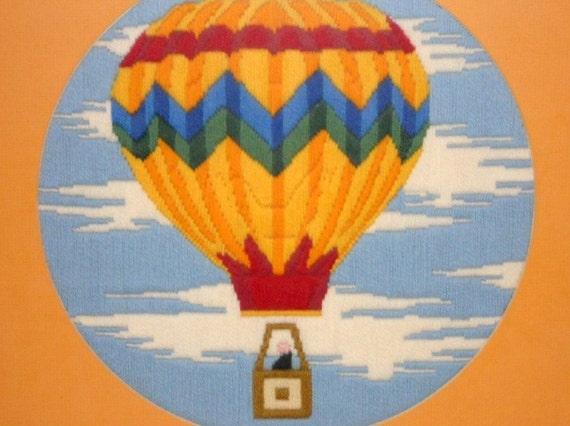 Hot Air Balloon Crewel/Needlework Framed Art Large Picture