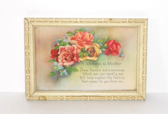 "Mother Picture Framed  Art  ""A Message to Mother"" Roses Vintage"