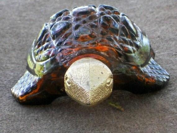 Avon Turtle Elusive Cologne Bottle Vintage Perfume Bottle Brown Turtle