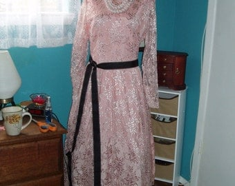 Tea Length Dusty Rose Semi Formal Dress-Prom, Evening, Holiday, Lace,Vintage SIZE 10