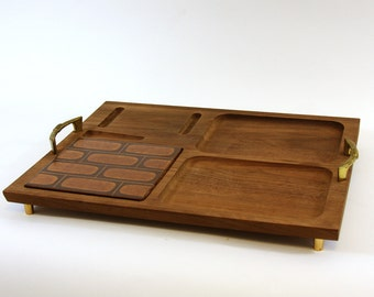 Gorgeous Teak and Tile Cheese Board Serving Tray