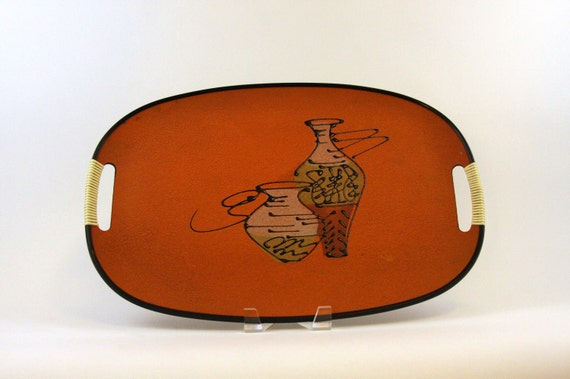 Mid century Modern Tray with a Free Form Drawing