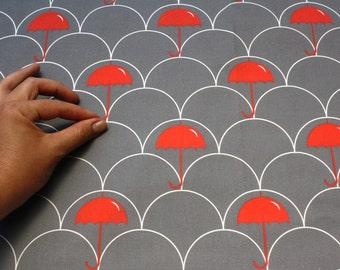 "Organic cotton -  Modern fabric - ""Red Umbrella"" - 1 yard - fabric by the yard"