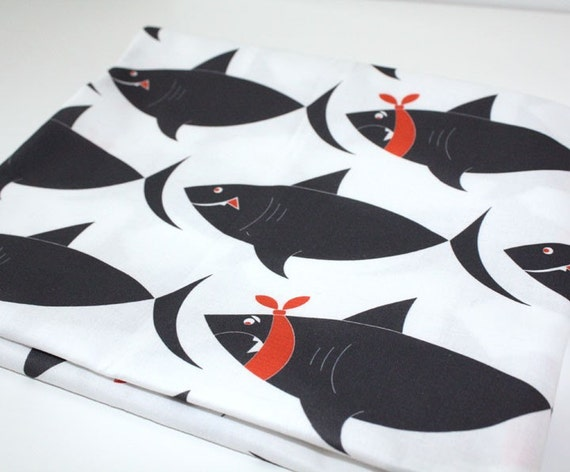 Fabric with sharks - White & Charcoal Grey fabric- childrens fabric - Quilting fabric - 1/2 yard