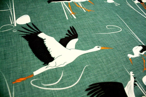 "Emerald Upholstery Fabric with birds-  ""Storks"" Ready to ship, worldwide - 1 yard"