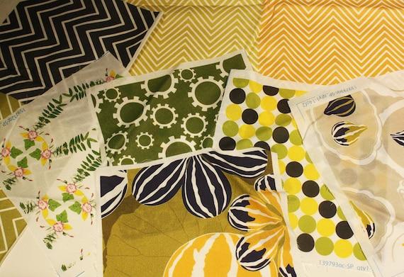 Fabric Scraps - Original Designs -Greens and Oranges