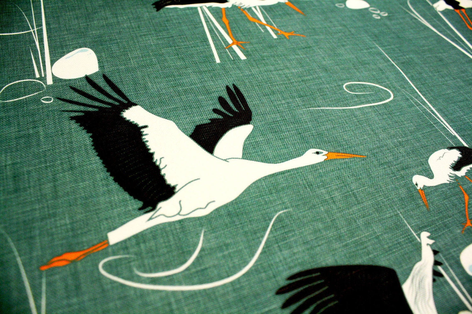 Emerald Upholstery Fabric With Birds Storks