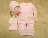 NEWBORN 0m Baby Girl Handcrafted Pink and Brown 4pc Knit Set... Isabella and Valentino (i&v baby)