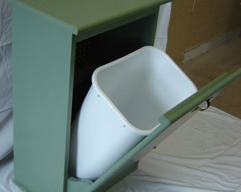 New Solid Maple Wood Sage Green Garbage Bin Trash Can or Recycling Can Bin Storage Container