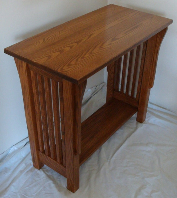 New Mission Style Solid Oak Wood Bedside / Bedroom / Living Room Side End Table / Night Stand