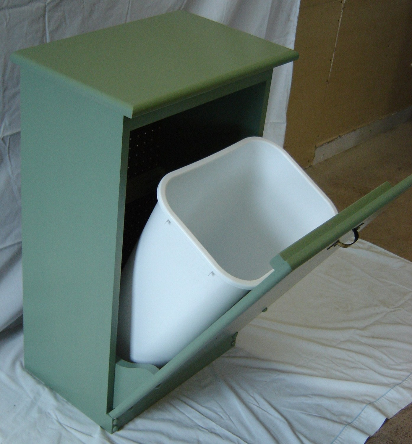 New Solid Maple Wood Sage Green Garbage Bin Trash Can Or