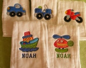 Transportation Burp Cloth Set 2