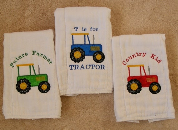 T is for Tractor 3-piece burp cloth set