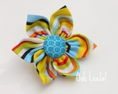 Collar bling - flower accessory for your pet's collar - colorful stripes by Ooh Leela Pets - SMALL