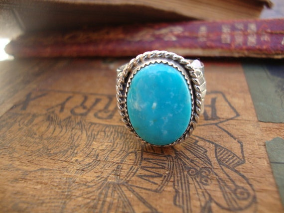 Sterling Silver Natural Turquoise Ring CUSTOM LISTING for LEANNE