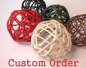 Custom Order - U.S.P.S. PRIORITY SHIPPING - for amandaandcarson - Set of 3 Rustic Decor Balls - LARGE black natural twine / jute