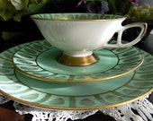 Schumann Azberg Trio Footed Teacup Saucer and Side Plate - Bavaria Germany 7788
