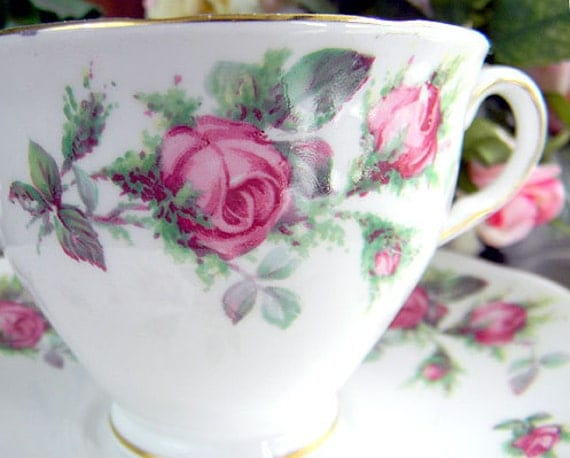 Colclough Pink Rosebuds Teacup Tea Cup and Saucer 5857