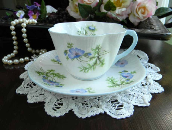Vintage Shelley Tea Cup Blue Poppy Teacup Cup and Saucer c1945-66