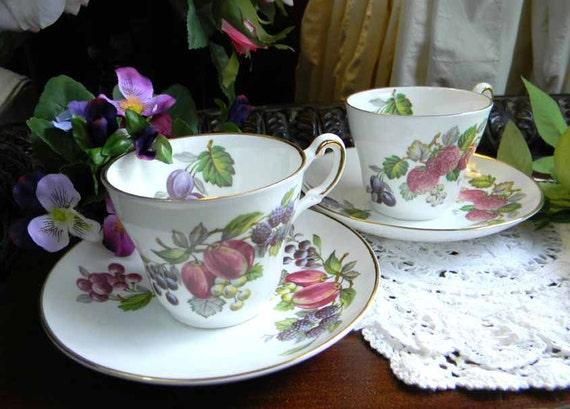 2 Regency Demitasse Tea Cups Fruit Themed TeaCups and Saucers 4502
