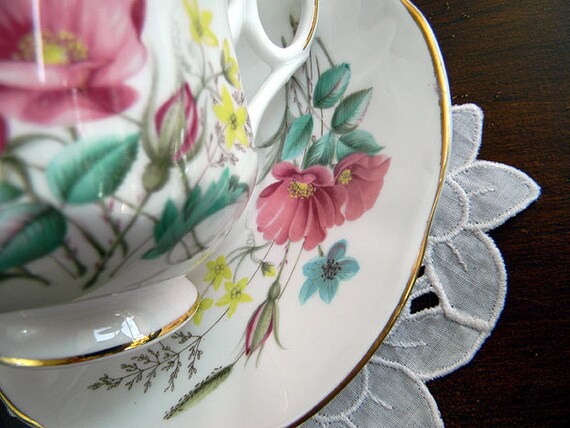 Royal Dover Teacup Tea Cup and Saucer - High Handled Footed August Poppy 6146